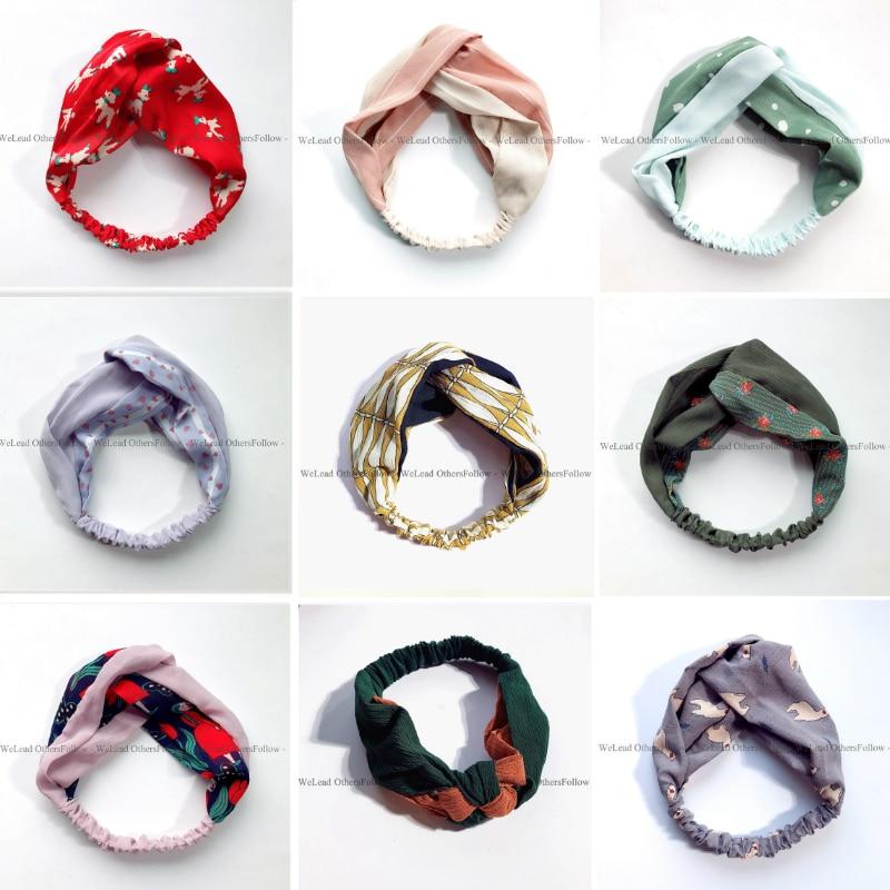 Svaigi modes krāsains Turban galvassegu sieviešu pavasara vasaras šifons galvas apvalks Wrap plašu režģa matu aksesuāri