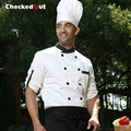 Checkedout Cook suit long-sleeve chef jacket white chef uniform Free Shipping Chef Clothes working clothes