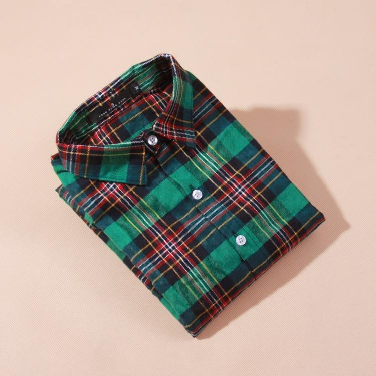 Bluzka koszula damska bluzka w kratę 100% bawełna Bluzka z długim - Ubrania Damskie - Zdjęcie 5