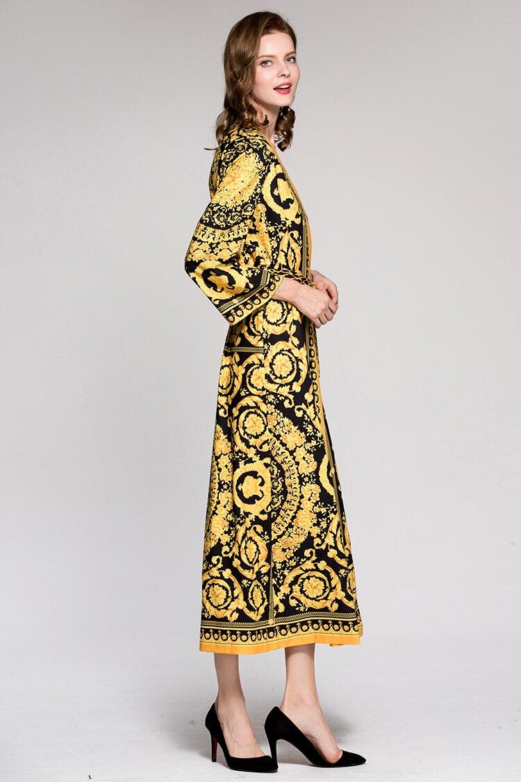Décontractées Année Piste 2018 cou Robe Imprimé Manches Robes Femmes Couronne De Léopard Style Mode Pleine Lâche Écharpes V Dame azgUxf