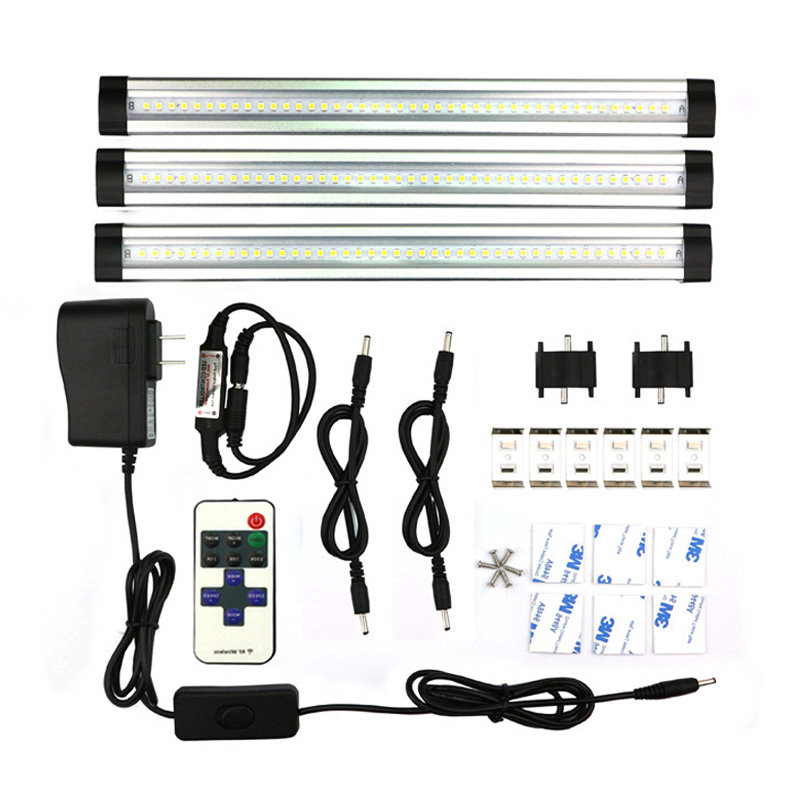 3pcs/set SMD 3528 IR remote control Dimmable Under Cabinet Light LED Hard Rigid Bar Kitchen Light LED bar light kit DC12V Output hamrvl ir remote control dimmable under cabinet light kitchen light led bar light 3 0 3m 5050 hard rigid bar light 3pcs set