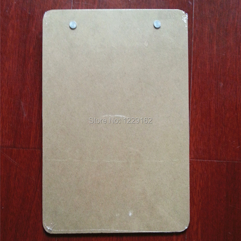 Free Shipping (6pcs/lot) office supplies A5 Wooden file clip board MDF menu clipboard with hook office accesorries
