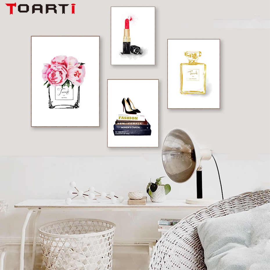 Modern Fashion Poster Prints Perfume Lipstick Shoes Canvas Painting On The Wall Art Pictures For girls living Room Home Decorati