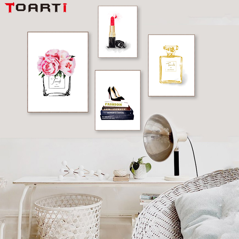 Modern Fashion Poster Prints Perfume Lipstick Shoes Canvas Painting On The Wall Art Pictures For