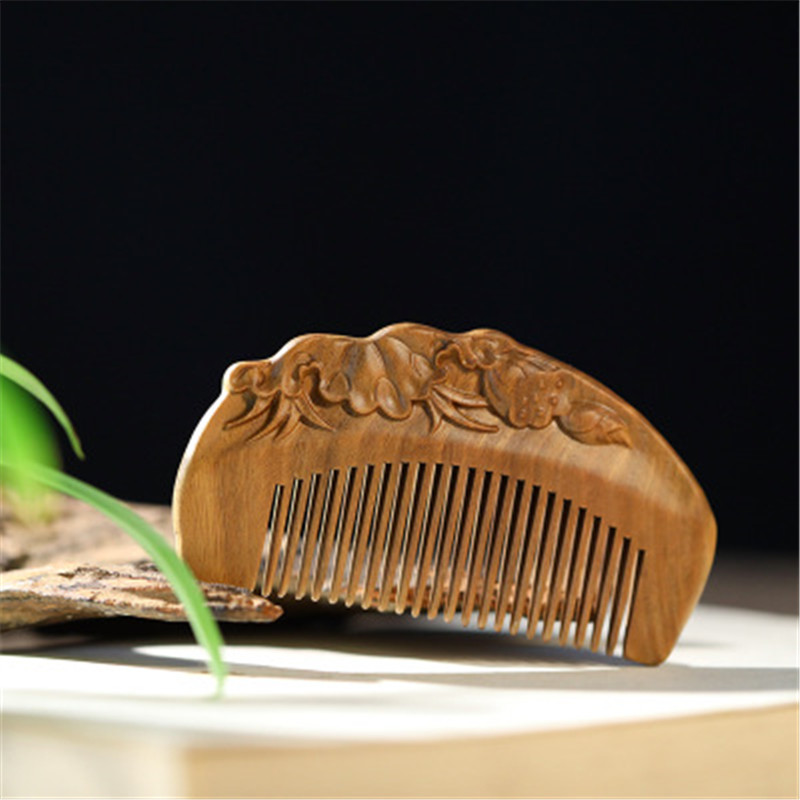 Professional Health Care Comb Anti-static Massage Green Sandalwood Comb Handmade Beauty Lotus Seed Hair Brush 1pc wooden massage comb natural wild boar bristles wooden comb hair brush green sandalwood handle brosse hair care comb de14