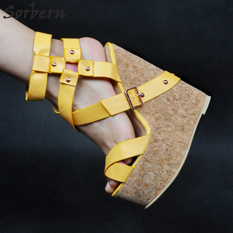 Sorbern Luxury Wedges Shoes For Women Ladies Sandals Plus Size Zipper Yellow PU Designer Shoes Women Luxury 2017 Ladies Sandals