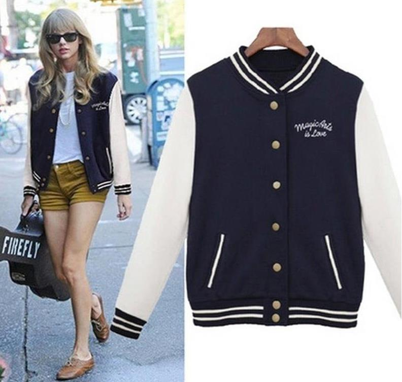 Women Baseball   Jacket   Casacos Femininos Preppy College   Jackets   Bomber   Jacket   2018 New Autumn Winter Coats   Basic   Outwear XXL