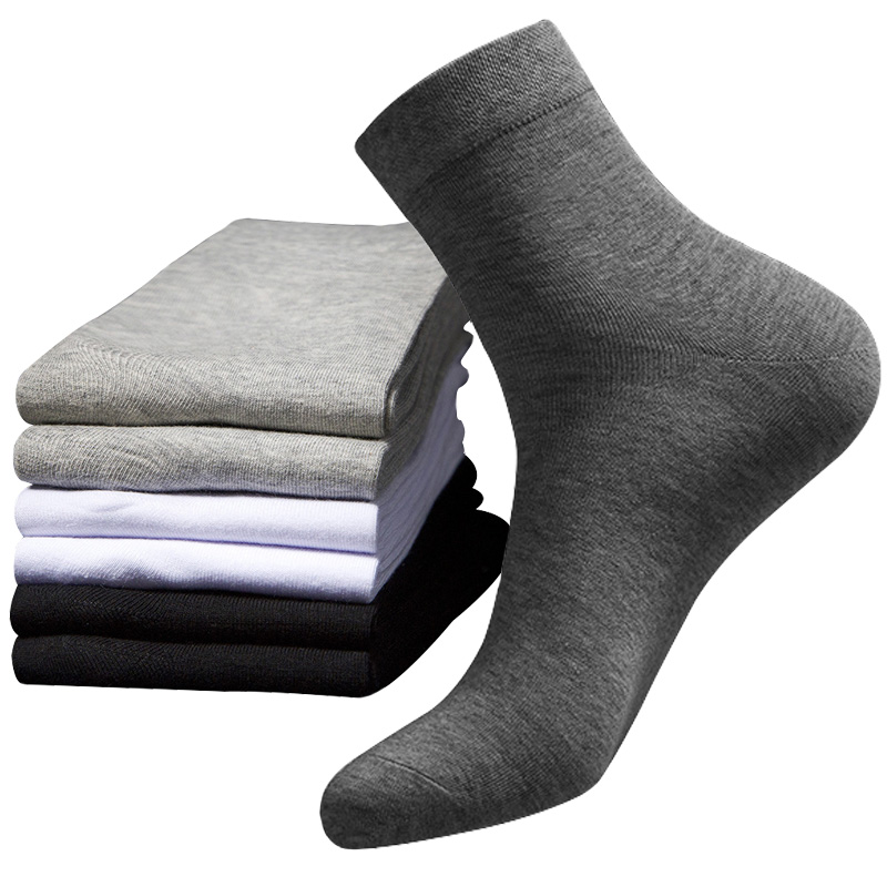 3 Pairs Spring Autumn Model Nano Silver Ion Deodorant Shaping Socks Men Business Socks Solid Color Combed Cotton Sock Male Meias
