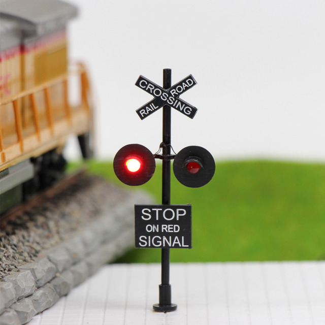 JTD877RP 1 set/2 Sets/6 sets HO Scale 6cm Railroad Crossing Signals 2 heads LED made + Circuit board flasher 6