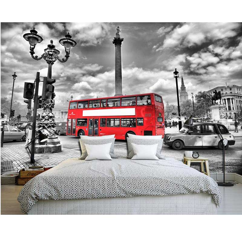 Continental London Red Bus Personalized Custom Wallpaper The Living
