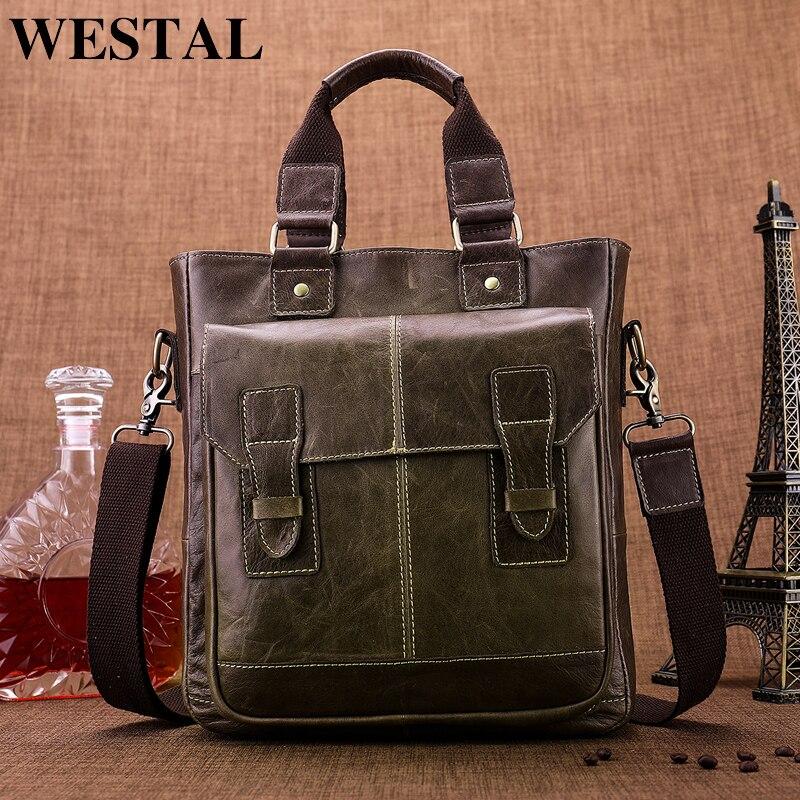 WESTAL сумка для мужчин пояса из натуральной кожи повседневное мужской мужские портфели ноутбука мужчин's сумки через плечо для 8532