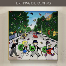 Artist Hand-painted High Quality Modern Wall Art Monopoly Oil Painting Rich Man and Duck for Decoration