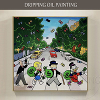 Artist Hand Painted High Quality Modern Wall Art Monopoly Oil Painting Rich Man And Rich Duck