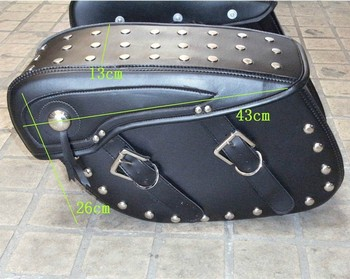 Motorcycle side luggage bags 250 vf750 magna 750 decoration bag leather saddlebags black goods saddle bags