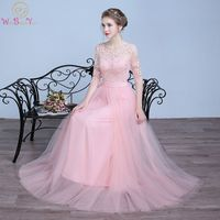 Walk Beside You Pink Prom Dresses Champagne Gray Lace Applique Flowing Tulle Long 3 4 Sleeves