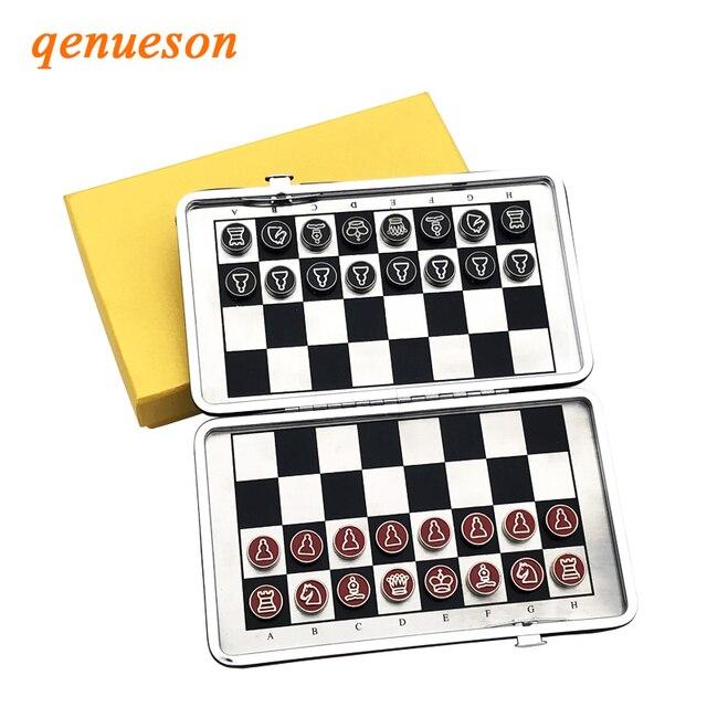 Mini jeu d'échecs pliant magnétique Portable en alliage 1