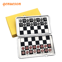 Hot Al Alloy Material Portable Mini Magnetic Folding Chess Set Children Educational Toys China Leather National Style Board Game