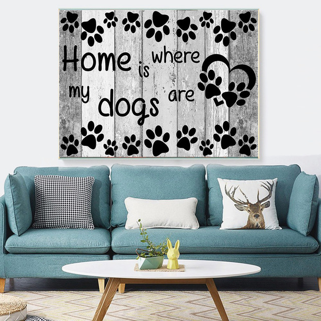 HUACAN 5d Diamond Painting Home Is Where My Dogs Are Diamond Embroidery Full Layout Mosaic Cartoon