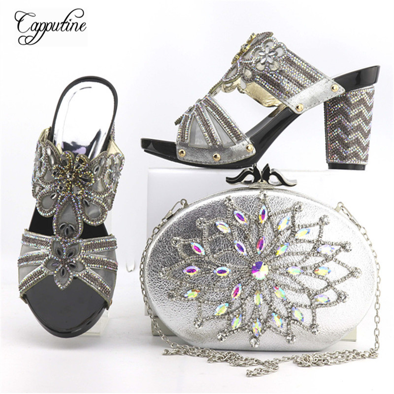 Capputine Nigerian Style Rhinestone Party Shoes And Bag Sets High Quality African Shoes And Purse Set For Wedding Free Shipping capputine new arrival woman shoes and bag set nigerian design high heels shoes and bag sets for party free shipping bch 40