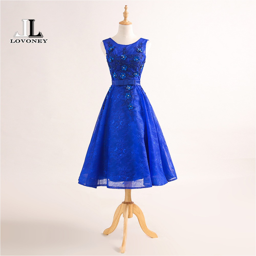 LOVONEY T423 Sexy Open Back Short   Prom     Dresses   2019 New Design Tea Length Lace Beading Occasion Party   Dress   Gown Formal   Dresses