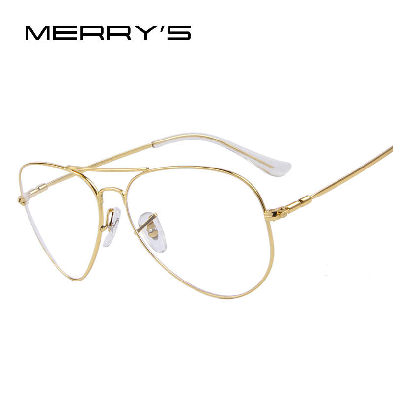 MERRY'S Fashion Women Titanium Glasses Frames Men Brand Titanium Eyeglasses Gold Shield Frame With Glasses