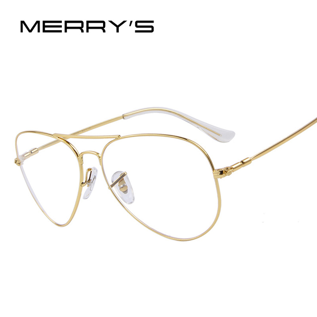 a8989e8597 MERRYS Fashion Women Titanium Glasses Frames Men Brand Titanium Eyeglasses  Gold Shield Frame With Glasses-in Eyewear Frames from Apparel Accessories  on ...