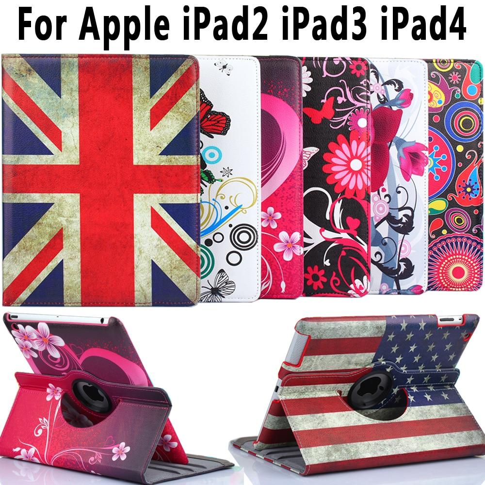 360 Degree Rotating Leather Flower Flag Cover For Apple Ipad 4 Auto Sleep Awake Cover For Ipad 2 Ipad 3 Case Coque Funda