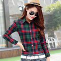 2016 Spring New Hat 8 Colors Women Blouses Red Plaid Long Sleeve Blouse Shirt Female Sunscreen Loose Plus Size Shirt Casual Tops