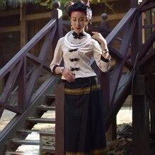 YunNan DeHong Area Dai clothing Three Quarter sleeve Thailand traditional Style Restaurant Hotels reception costume