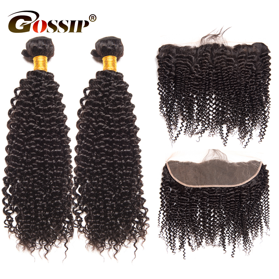 Gossip Hair Kinky Curly Hair Bundles With Frontal Brazilian Hair Weave Bundle 2Pcs Curly Human Hair Bundle With Closure NonRemy