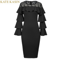 Kate Kasin Party Bodycon Dresses Womens Autumn 2017 New Sexy Lace See Through Ruffle Long Sleeve