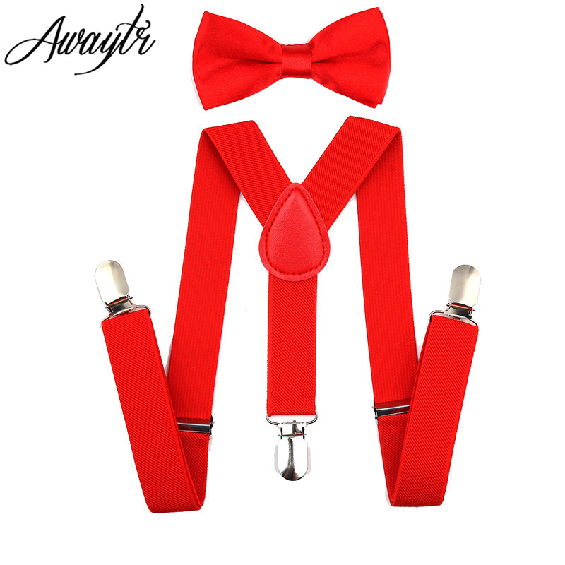 Awaytr Kids Suspenders 2017 Boys Girls Adjustable Elastic Clip On Baby Clothing Accessories Suspenders Belt+Bow Tie Set Tirantes