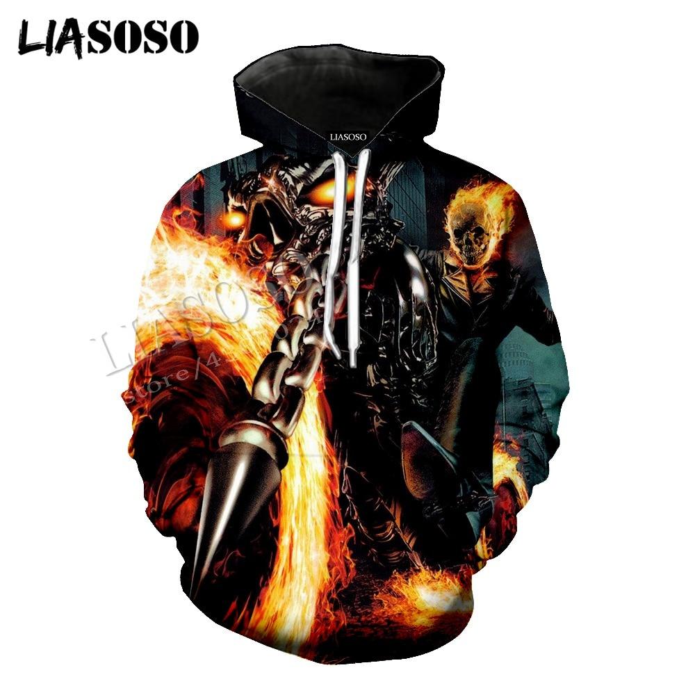 LIASOSO latest 3D print cozy polyester sportswear Marvel movie anime Ghost Rider creative zipper hooded shirt men women CX628