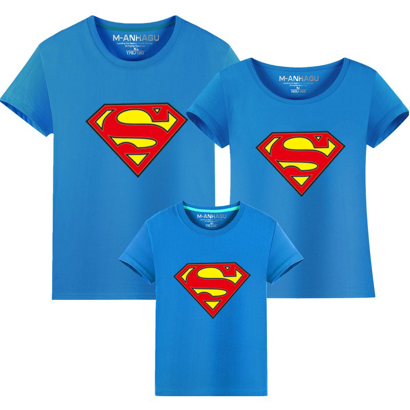 2017 new Superman Short Sleeve T-shirts for family father