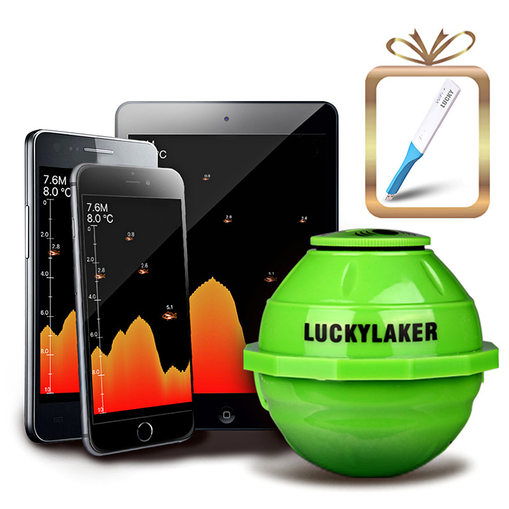 LUCKY FF916 WiFi Wireless Fish Finder Underwater Sonar <font><b>Fishfinder</b></font> APP Best <font><b>Deeper</b></font> Echo Sounder Bite Alarm With Signal Amplifier image