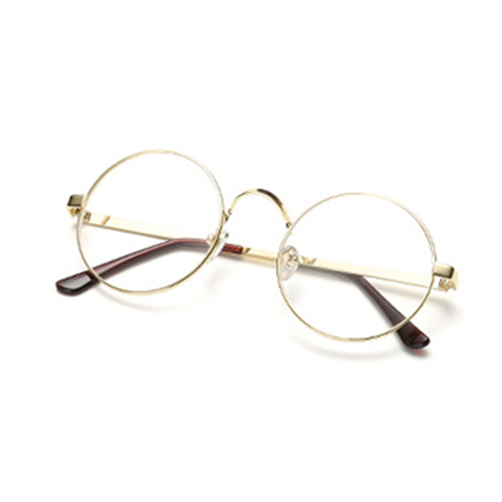 Retro Oversized Korean Round Glasses Frame Clear Lens Women Men Retro Gold Eyeglass Optic Frame Eyewear Vintage Spectacles