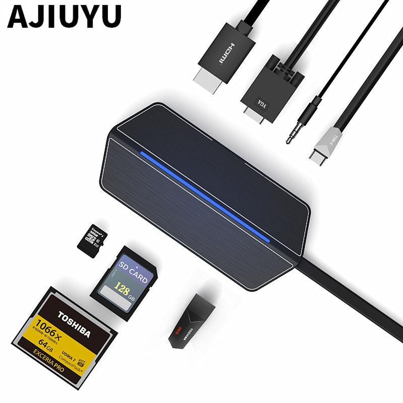 AJIUYU Thunderbolt 3 to HDMI VGA Converter Type-c HUB to RJ45 SD Card Reader PD USB3.1 For DELL Laptops G3 15/17/New G5/G7/5280 цена