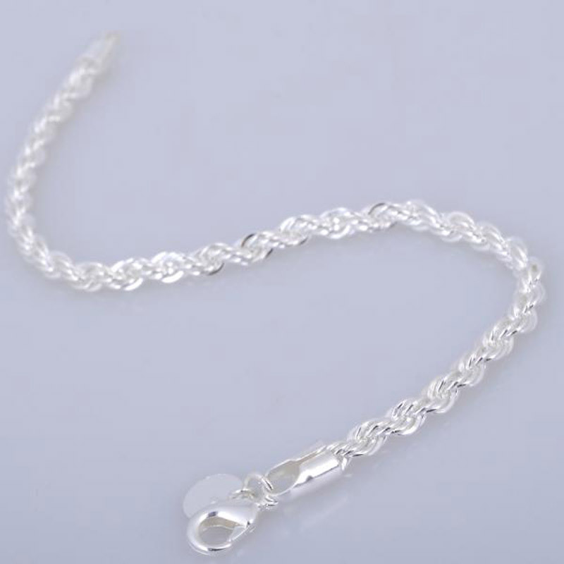 Women 925 Sterling Silver Chain Bracelets Bangles Fashion Jewelry Solid Silver Chain Charm Bracelets Bangles Jewelry Best Gift in Charm Bracelets from Jewelry Accessories