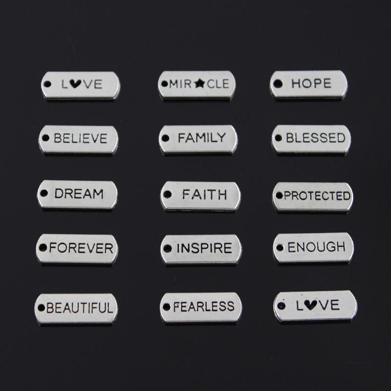 10pcs Charms Forever Faith Hope Brave Love Blessed Believe Dream Fearless Family 21x8mm Tibetan Silver DIY Antique Pendants