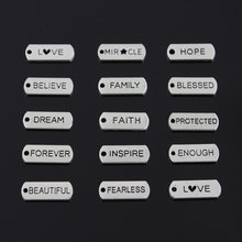 10pcs Charms forever faith hope brave love blessed believe dream fearless family 21x8mm Tibetan Silver DIY Antique Pendants(China)