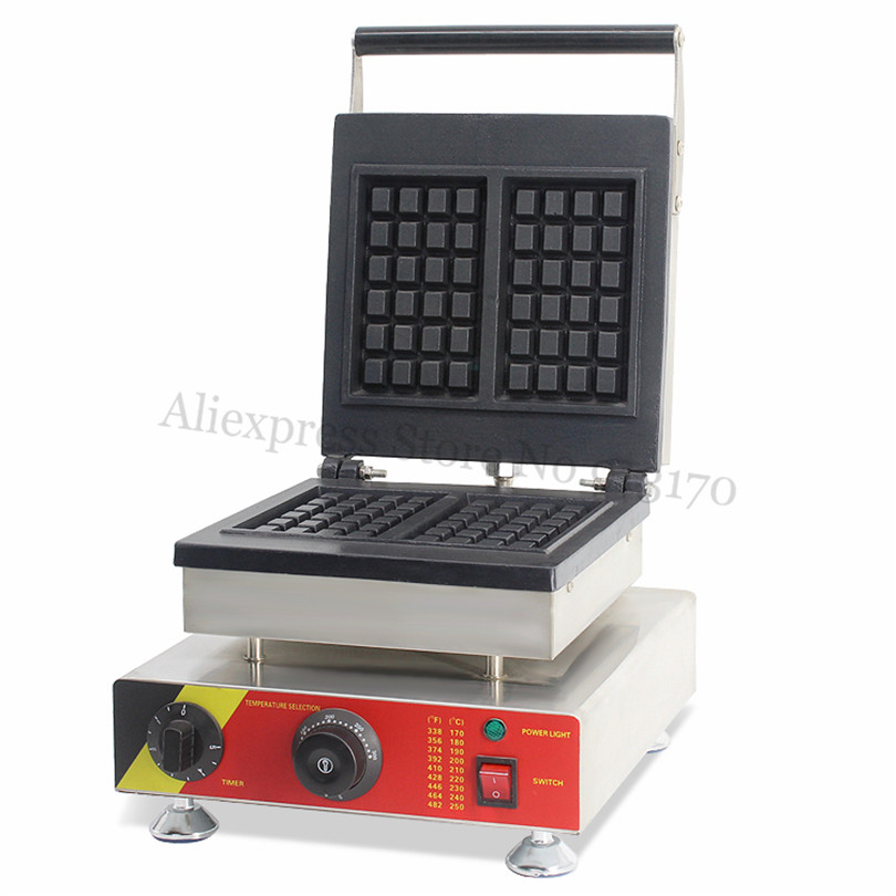 Electric Rectangle Waffle Machine Stainless Steel Square Waffle Baker Maker Nonstick with Timer and Temperature Controller economic and elegance waffle maker machine baker doulbe head electric churros with bar shaped and popsicle