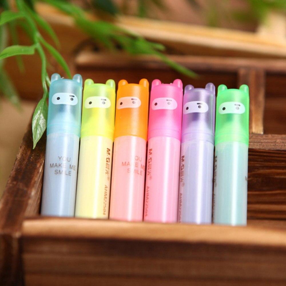 Limit Shows 6 Pcs Lot Cute Mini Highlighter Fluorescent Pen Cartoon Ninja Marker Painting