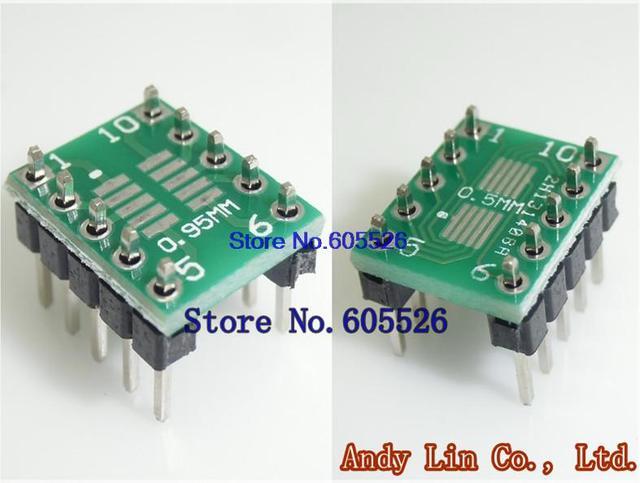 20pcs/LOT  SOT23 SOP10 MSOP10 UMAX10 turn DIP10 0.5MM 0.95MM Pitch IC adapter Socket PCB (NO IN Pin Header)