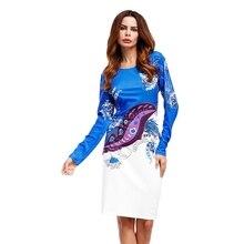 С длинным рукавом Тонкий платье повязки Цветочный принт Винтаж платье моды О-образным вырезом Тонкий Демисезонный платье плюс Размеры Платья для вечеринок
