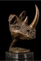 Голова Животного реального Чистая латунь статуи Аннотация Книги по искусству Скульптура носорог глава Медь Мрамор статуя фигурка