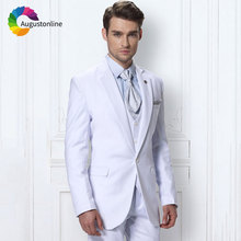 White Mens Classic Suits Wedding Slim Fit Groom Tuxedo Costume Homme 3Piece Jacket Pants Vest Best Man Blazer Terno Masculino