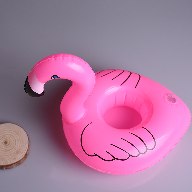 1PCS Mini Flamingo Floating Inflatable Drink Can Cell Phone Holder Stand Pool Swimming Bath Party  Kids Float Toys