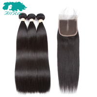 Allrun Pre Colored Natural Color Malaysian Straight Hair With 4 4 Lace Closure 100 Human Hair