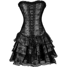 Halloween Fashion Charming Sexy Lingerie Lace up Basque Corset Bustier MINI Skirt Dress underbust corset cinta modeladora