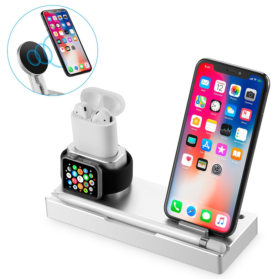 Aluminium Alloy 4 In 1 Night Table Stand For Apple Watch Airpods Apple Pencil 5W Wireless Charger Stand For Iphone 8 Iphone X (8)